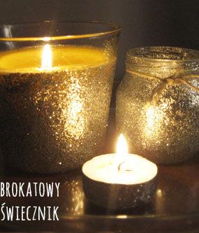 DIY: Brokatowe świeczniki