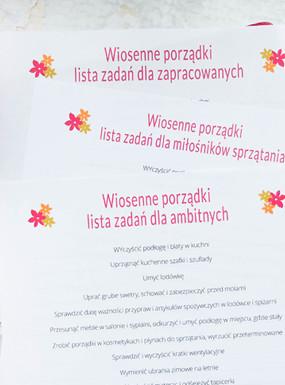 Wiosenne porządki – lista zadań do druku